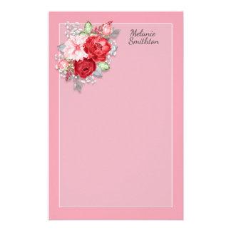 Papelaria Folhas florais das cinzas da aguarela rosa