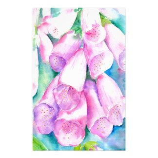 Papelaria Foxgloves cor-de-rosa da aguarela