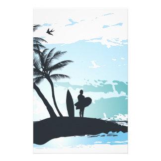 Papelaria Fundo do surfista do verão da palma