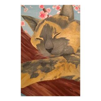 Papelaria Gato do sono da flor de cerejeira