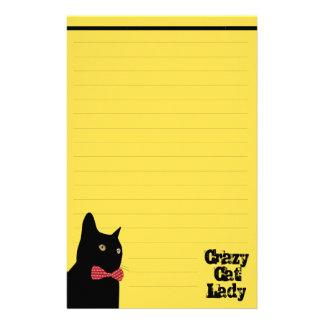 Papelaria Gato preto com laço vermelho - senhora louca do