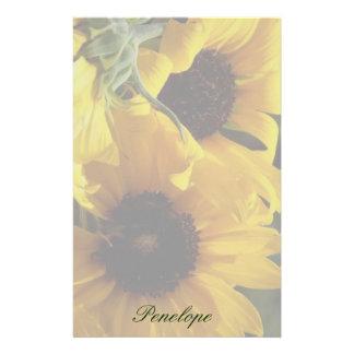 Papelaria Girassóis amarelos bonitos grandes e seu nome
