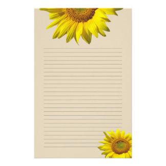 Papelaria Girassol amarelo papel de carta pessoal alinhado