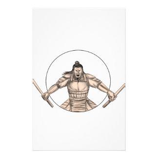 Papelaria Guerreiro do samurai que Wielding o tatuagem de