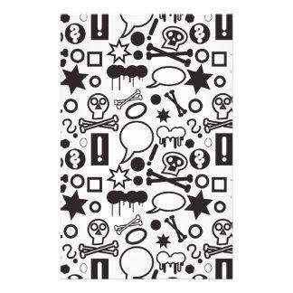 Papelaria Ícones funky preto e branco