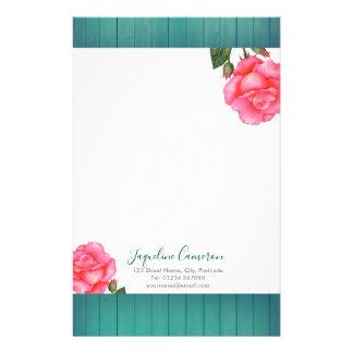 Papelaria Ilustração botânica do rosa do rosa da aguarela