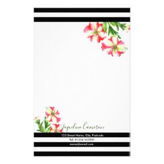 Papelaria Ilustração cor-de-rosa e branca da aguarela dos