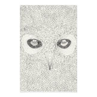 Papelaria Ilustração detalhada da coruja em preto e branco
