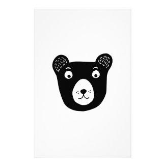 Papelaria Ilustração preto e branco bonito do urso