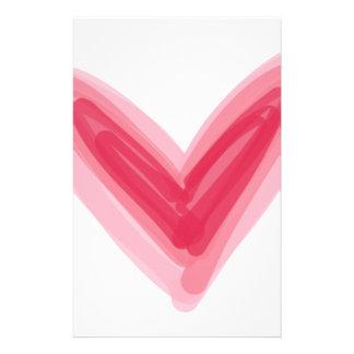 Papelaria Impressão cor-de-rosa bonito do coração, amor