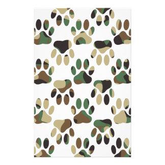 Papelaria Impressão da pata do cão do teste padrão de Camo