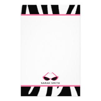 Papelaria Impressão da zebra & óculos de sol cor-de-rosa