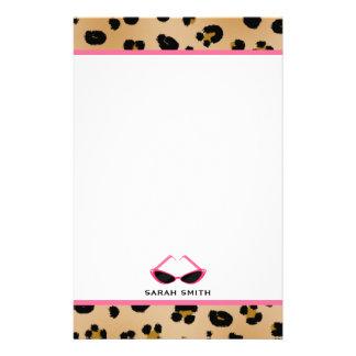 Papelaria Impressão do leopardo & óculos de sol cor-de-rosa