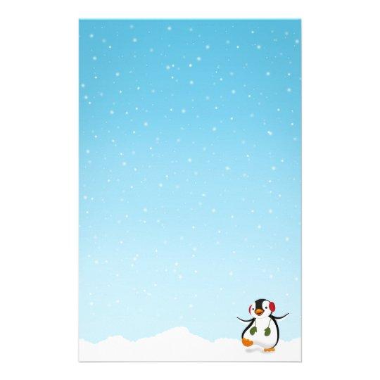 Papelaria Inverno engraçado bonito do pinguim - cabeçalho