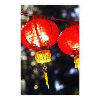 Papelaria Lanternas lunares chinesas bonitas do vermelho do