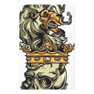 Papelaria leão do vintage no crânio inoperante