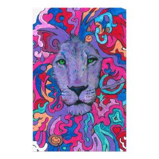 Papelaria Leão psicadélico roxo