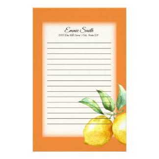 Papelaria Limões e folhas personalizados do verde na laranja
