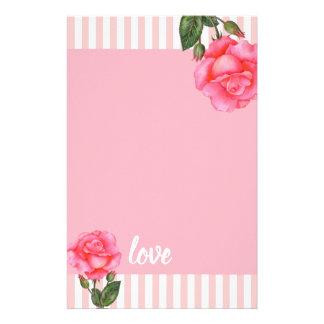 Papelaria Listras florais da arte do rosa do rosa da