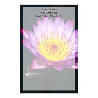 Papelaria Lotus roxo & amarelo com ninfa da libélula