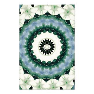 Papelaria Mandala da flor branca e do azul Cerulean