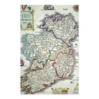 Papelaria Mapa de Ireland - mapa histórico de Eire Erin do