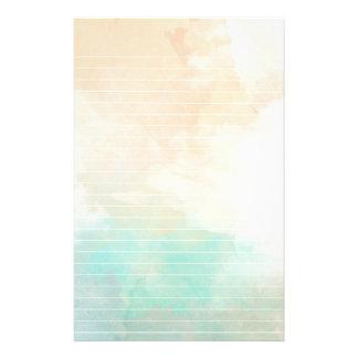 Papelaria Mar da aguarela e papel alinhado areia