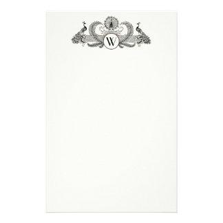 Papelaria Marfim BG do monograma dos pavões do vintage