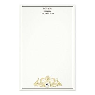 Papelaria Marfim BG do ouro do falso do monograma dos pavões