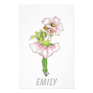 Papelaria Menina bonito engraçada floral da flor cor-de-rosa