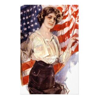 Papelaria menina da bandeira americana do vintage