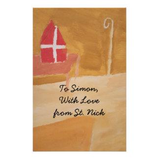 Papelaria Mitra da aguarela de Sinterklaas do Dutch do dia