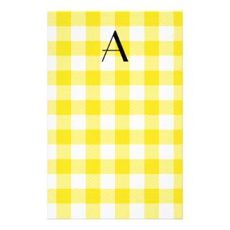 Papelaria Monograma amarelo do teste padrão do guingão