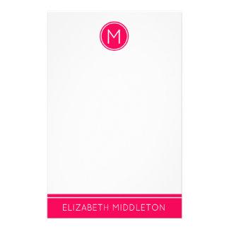 Papelaria Monograma cor-de-rosa do verão no branco