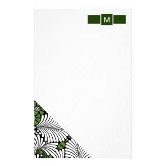 Papelaria Monograma verde e branco com folhas de palmeira