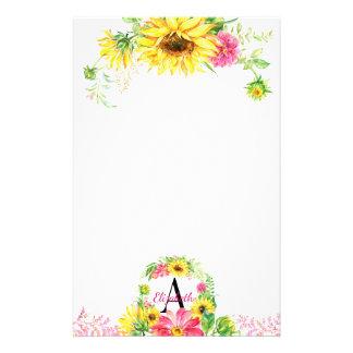Papelaria Monogrammed floral do girassol bonito da aguarela