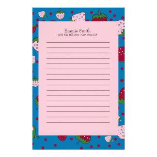 Papelaria Morango cor-de-rosa bonito personalizada do