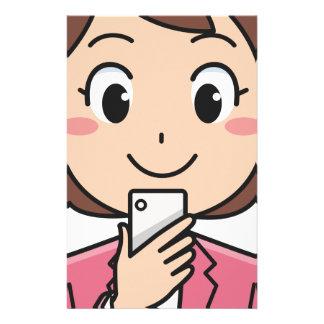 Papelaria Mulher com Smartphone