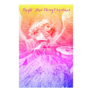 Papelaria Natal azul roxo do rosa do ANJO do FAZER da MÚSICA