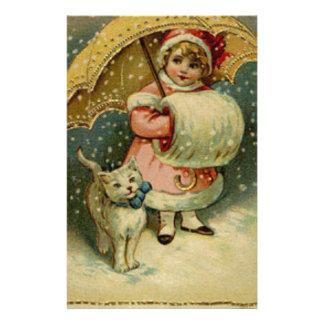 Papelaria Natal retro da criança e do gato do vintage do
