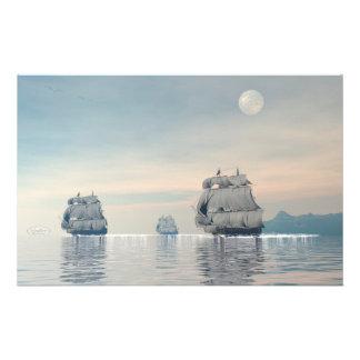 Papelaria Navios velhos no oceano - 3D rendem
