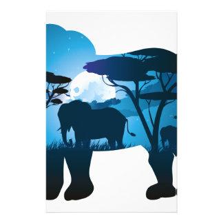 Papelaria Noite africana com elefante 6