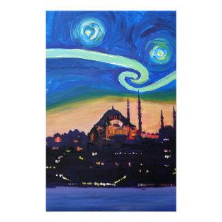 Papelaria Noite estrelado em Istambul Turquia