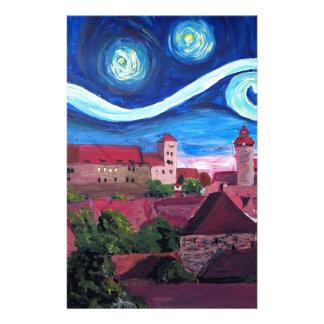 Papelaria Noite estrelado em Nuremberg Alemanha com castelo