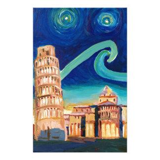 Papelaria Noite estrelado em Pisa com torre inclinada