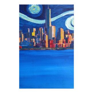 Papelaria Noite estrelado na Nova Iorque - torre da