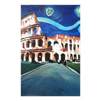 Papelaria Noite estrelado sobre Colloseum em Roma Italia