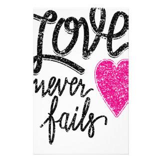 Papelaria o amor nunca falha, coração do vintage