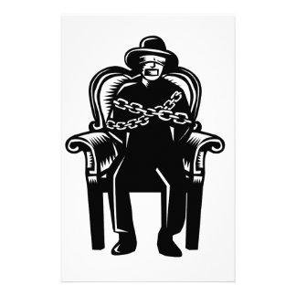 Papelaria O homem amordaçou acorrentado ao Woodcut grande da