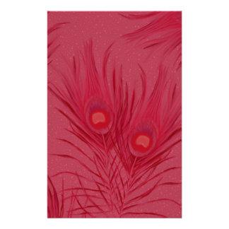 Papelaria O pavão cor-de-rosa bonito empluma-se o teste